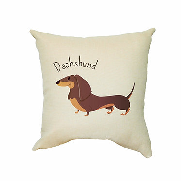 Tan cushion cover with zip dachshund cartoon dog image front view