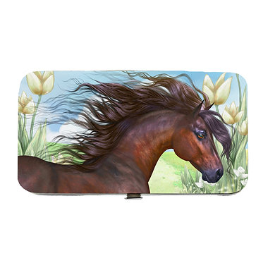 Ladies hard case purse wallet with mobile phone mount inside beautiful bay horse image view