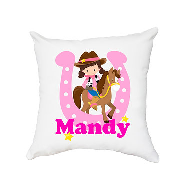 White personalised cushion with zip cowgirl hot pink image front view