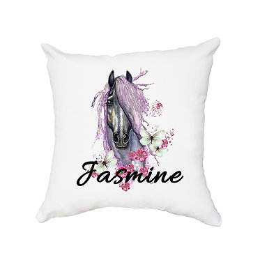 Personalised white cushion with zip purple horse image front view