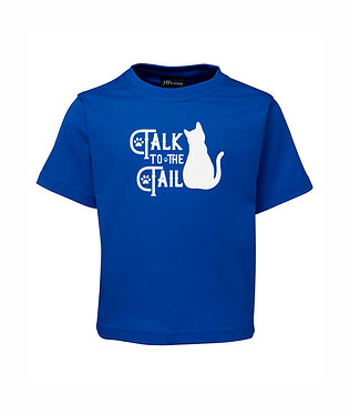 kids cotton t-shirt royal blue cat talk to the tail image front view