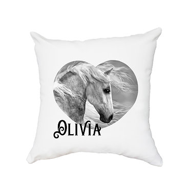 Personalised white cushion with zip black and white horse image front view