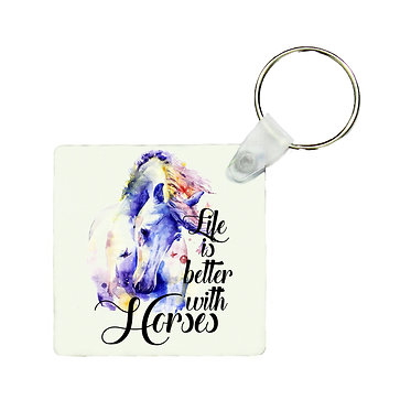 Square MDF wood key-ring life is better with horses image front view