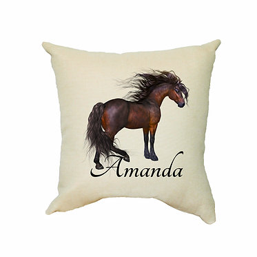 Personalised white cushion with zip magical horse image front view