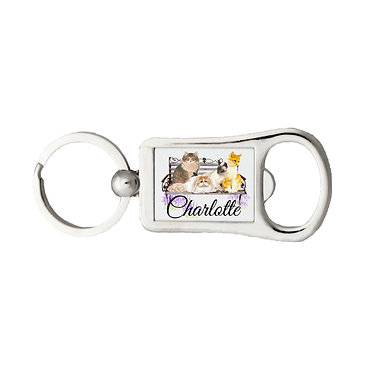 Personalized bottle opener keyring cats on bench with name image front view