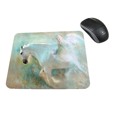 Neoprene computer mouse pad white horse with wings image front view