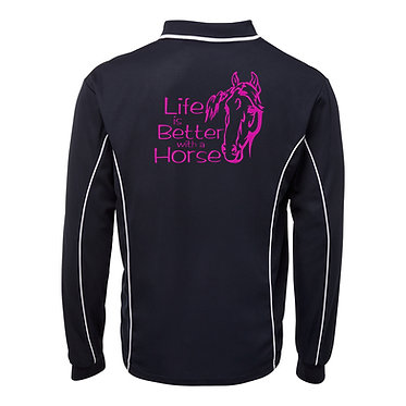 Adults long sleeve polo shirt black hot pink life is better with a horse image back view
