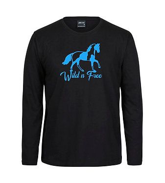 Adults long sleeve t-shirt black with blue paint horse wild n free image front view