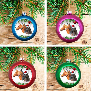Set of 4 Christmas horse ornaments baubles in blue, pink, red and green front view