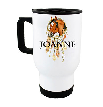 Personalised travel mug stainless steel dream catcher horse image front view