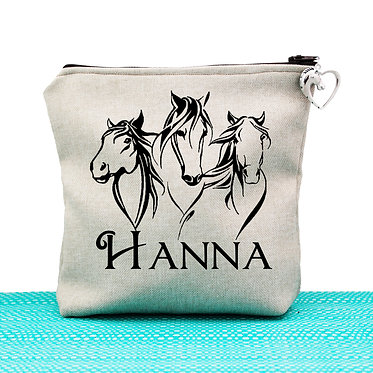 Tan cosmetic toiletry bag with zipper personalised three horses image front view