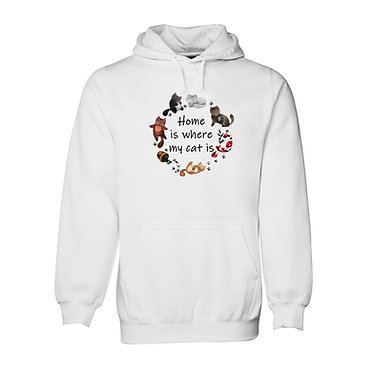 """Hoodie jumper white with cats """"home is where my cat is front view"""