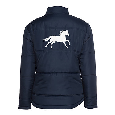 Ladies horse theme puffer jacket navy with white cantering horse image back view