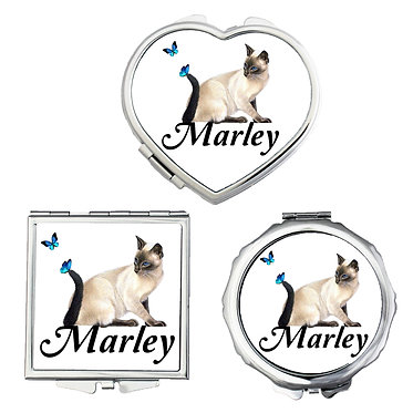 Compact mirrors three shapes round, square, heart personalized with name and cat with butterflies image front view