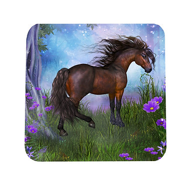 Neoprene drink coaster horse in forest image front view