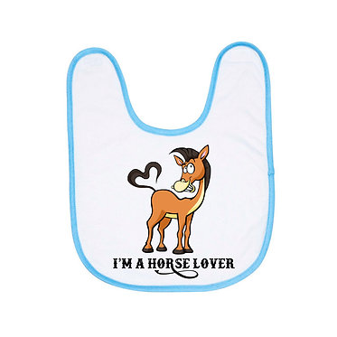 Babies bib white with blue trim I'm a horse lover image front view
