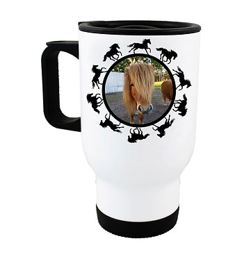 Travel mug personalized horse with photo and round horse pattern boarder around photo front view
