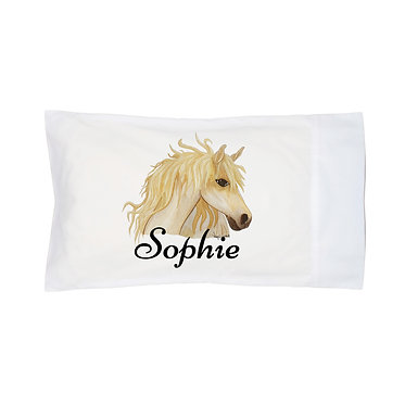 Personalised horse pillow case watercolour horse image front right facing view