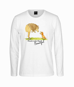 Horse long sleeve t-shirt 100% cotton white with horse and dog friendship image front view
