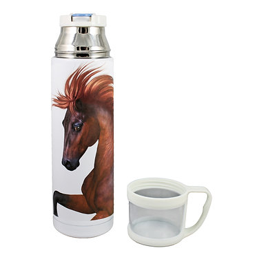 Thermos flask drink travel bottle 500ml stainless steel with cup off chestnut horse image front view