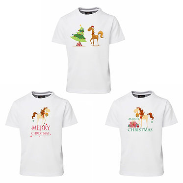 Set of three kids Christmas horse tee's white front view