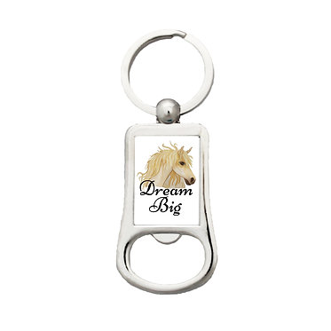 Bottle opener key-ring dream big horse image front view