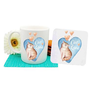 Ceramic coffee mug and drink coaster set cat love with hearts image front view