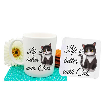 "Ceramic coffee mug and drink coaster set black and white cat with quote ""Life is better with cats"" image front view"
