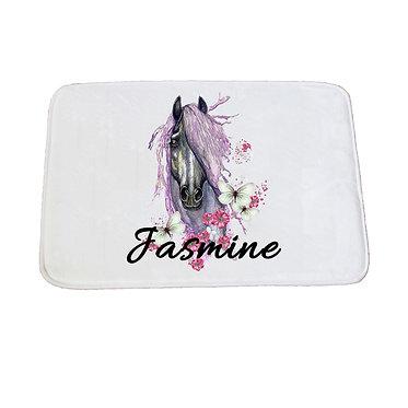 Personalised non-slip bath mat purple horse image front view