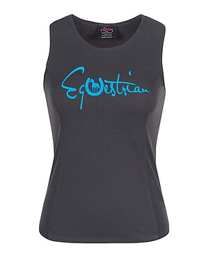 Charcoal with aqua image horse equestrian singlet top ladies front view
