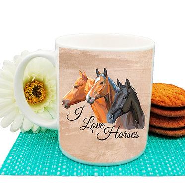 I love horses ceramic coffee mug front view