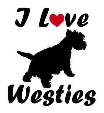 I love westies vinyl dog decal sticker in black front view
