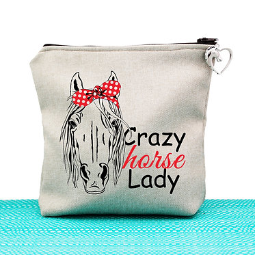Tan cosmetic toiletry bag with zipper crazy horse lady image front view