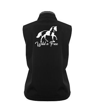 Ladies soft shell vest black with charcoal trim and paint horse image wild n free back view image