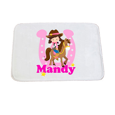 Personalised non-slip bath mat cowgirl hot pink image front view