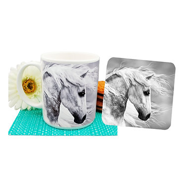Black and white horse ceramic coffee mug and coaster set front view