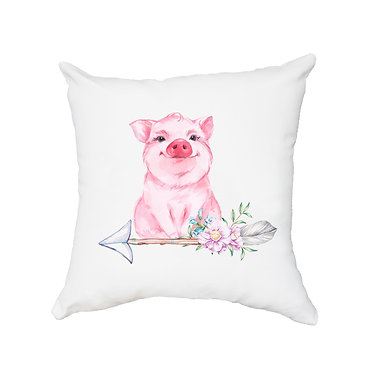 White cushion cover with zip with cute pig sitting on arrow with flowers front view