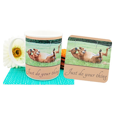 """Ceramic coffee mug and drink coaster set with horse and quote """"Just do your thing"""" image front view"""