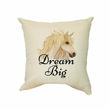 Tan cushion cover with zip dream big horse is better image front view