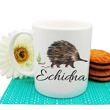 Ceramic coffee mug Australian Echidna image front view