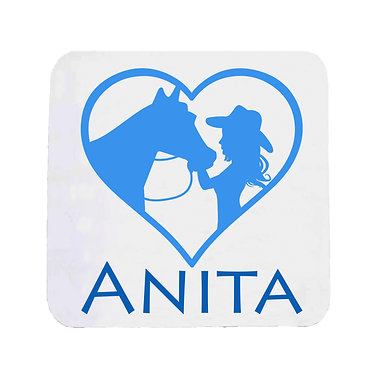 Personalised neoprene drink coaster girl and horse in heart blue image front view