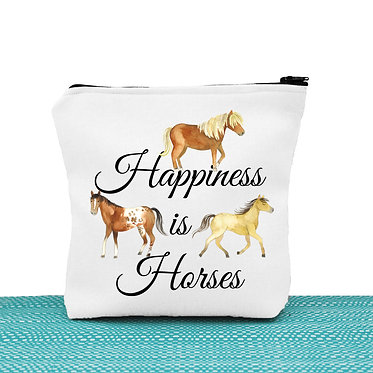 White cosmetic toiletry bag with zipper happiness is horses image front view