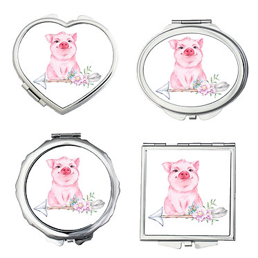 Compact mirrors set of four shapes round, square, heart, oval with cute big sitting on arrow with flowers front view