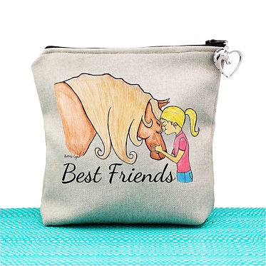 Cosmetic toiletry bag with zipper tan best friends girl and horse image front view