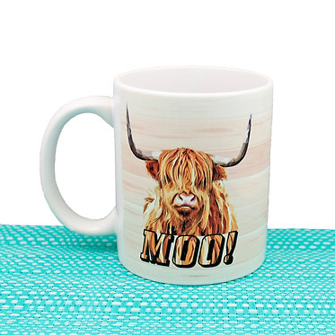 Ceramic coffee mug 11oz with highland cow image and text moo! front view