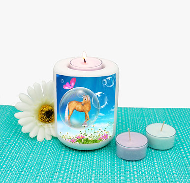Ceramic tealight candle holder fantasy unicorn in bubble image front view