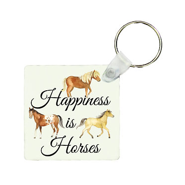 Square MDF wood key-ring happiness is horses image front view