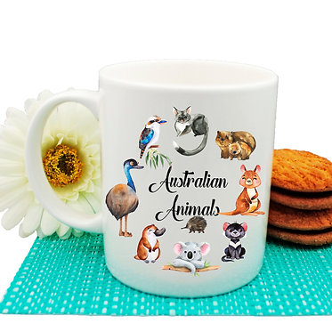 Ceramic coffee mug circle of Australian animals image front view