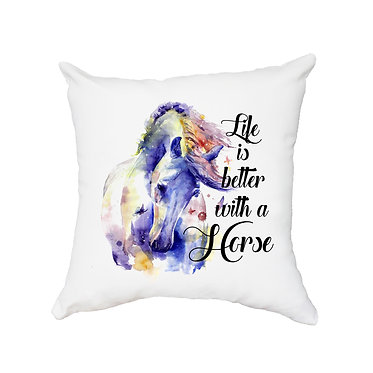 White cushion cover with zip life is better with horses image front view