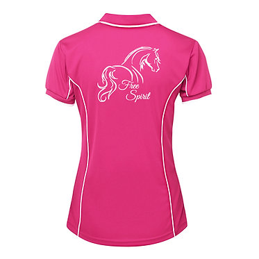Ladies horse pipping polo shirt hot pink white free spirit horse image back view